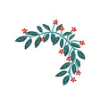 green branch with red flowers natural design vector image