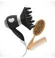 Hair dryer with diffuser and combs vector image vector image