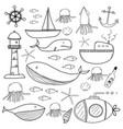 hand drawn sea doodles set vector image