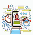 hands holding smart phone chatting messaging in vector image vector image