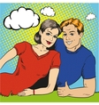 happy couple in retro pop vector image vector image