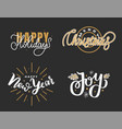 happy holidays merry christmas joy lettering text vector image vector image