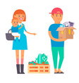 happy young couple flat people moving in vector image vector image