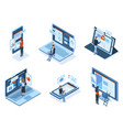 isometric characters use technology gadgets vector image vector image