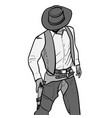 man with cowboy hat and gun western gunfighter vector image vector image