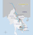 mekong river map with country and city location vector image vector image