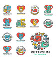 pet cat and dog domestic insignia vector image vector image