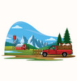 pick up truck transporting the cow on the farm vector image vector image