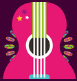pink guitar instrument retro feathers decoration vector image vector image
