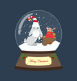 rabbit in christmas costume in snowball vector image vector image