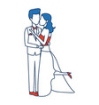 romantic couple wedding woman and man kissing vector image