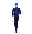 runnung man in winter gear isolated on white vector image