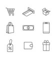 set finance and shopping icons vector image vector image