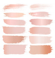 set of brush stroke pink gold grunge vector image vector image