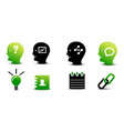 set of green and black business icons vector image