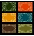 set visit card designs with ornate frames vector image