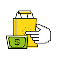 shopping bag with bill dollar and hand touching vector image vector image