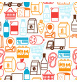 supermarket seamless pattern with food icons vector image vector image