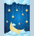 surreal night with big moon and ladders vector image vector image