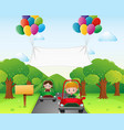 two kids driving car in the park vector image vector image