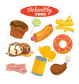 unhealthy food poster or fast food and fat eating vector image