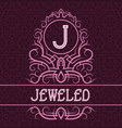 vintage label design template for jeweled product vector image