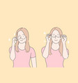 wearing glasses choosing rim testing spectacles vector image vector image