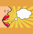 woman speak - female lips and blank speech bubble vector image vector image