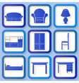 Set of 9 icons of house furniture vector image