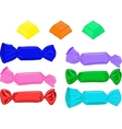 Set of candies in wrapper Colorful cute cartoon vector image
