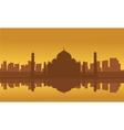 Silhouette of Taj Mahal and city vector image