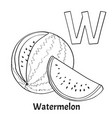 Alphabet letter w coloring page watermelon