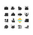 aviation black glyph icons set on white space vector image