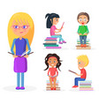 blonde girl holds book full-length reading kids vector image vector image