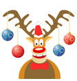 cartoon christmas deer with christmas balls vector image vector image