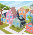 cartoon city landscape with houses and trees vector image vector image