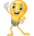 Cartoon funny light bulb pointing his finger vector image vector image