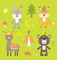 cheerful set of animal drawings vector image