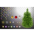 christmas tree and decorative elements vector image