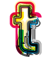 Colorful Grunge font LETTER t vector image vector image