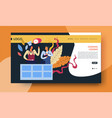 cooking lessons online video course web page vector image vector image