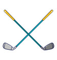 crossed golf clubs icon cartoon style vector image vector image