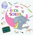 cute cartoon elephant student with schoolbag vector image