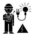 electrican icon black sign vector image vector image