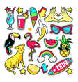 fashion patches in cartoon 80s-90s comic style vector image vector image