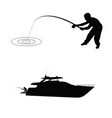 fisherman silhouette with boat vector image