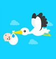 flying stork with a bundle with little cute vector image