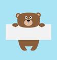 funny bear hanging on paper board template kawaii vector image