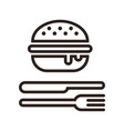 hamburger fork and knife vector image vector image