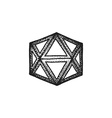 hand drawn dotted style polyhedron vector image vector image